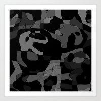 Black N Gray Abstract Art Print