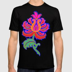 Bohemian Floral Paisley in Blue SMALL Mens Fitted Tee Black