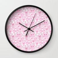 bows pink Wall Clock