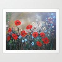 Impasto Red Poppy Love Garden Art Print