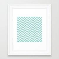 Teal Blue Chevron Framed Art Print