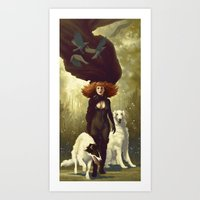 dogs Art Prints featuring Dogs by Kelly Perry