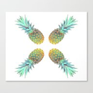 Quadri Tropical Pineappl… Canvas Print