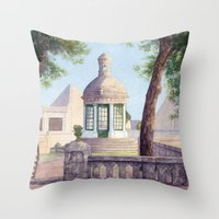 Tiny old mediterranean chapel Throw Pillow