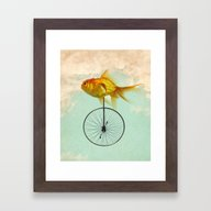 Framed Art Print featuring Unicycle Goldfish by Vin Zzep