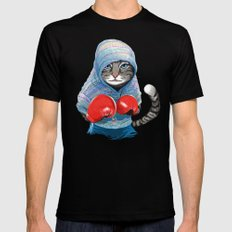 Boxing Cat Mens Fitted Tee SMALL Black