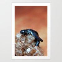 Metallic Blue And Black … Art Print