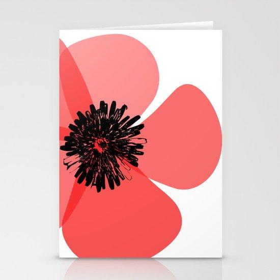 Red Poppy Flower Stationery Card