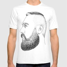 beard gold SMALL Mens Fitted Tee White