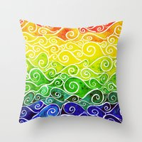 Rainbow Water Waves Throw Pillow