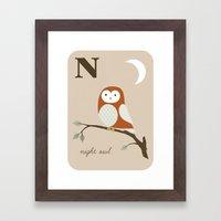 N is for Night Owl Framed Art Print