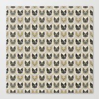 Anime Cat Faces Pattern Canvas Print