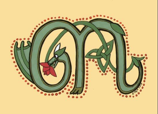 Celtic Dragon Letter M Art Print