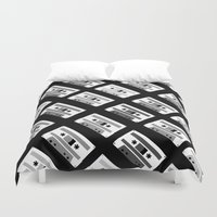 Black And White Tapes 45 Duvet Cover