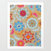 Brown Sugar Suzani Inspi… Art Print