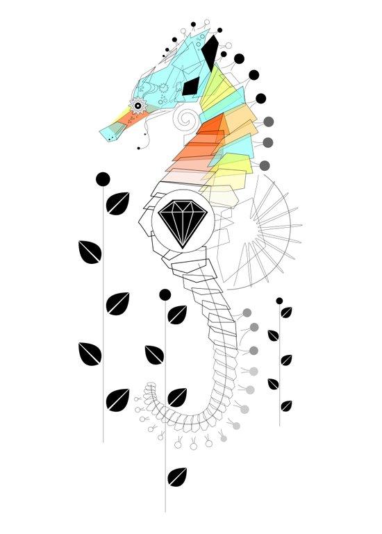 Geoseahorse Art Print