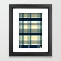 Blue Plaid Pattern Framed Art Print