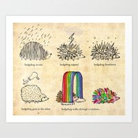hedgehog goes rainbow Art Print