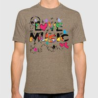 LOVE MUSIC Mens Fitted Tee Tri-Coffee SMALL
