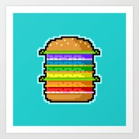 Pixel Hamburger Art Print