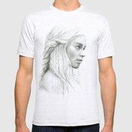 Daenerys Targaryen Portr… Mens Fitted Tee Ash Grey SMALL