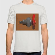 Propeller With Gear Mens Fitted Tee Silver SMALL