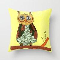 Aztek Owl Throw Pillow