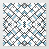 PS Grid 45 Sky Blue Canvas Print