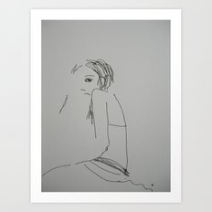 'Rock' Sketch (#girl pen drawing) Art Print