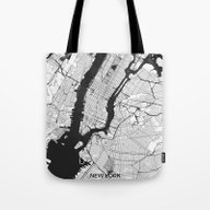 New York Map Gray Tote Bag