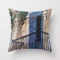 Blue Sicilian Door on the Balcony Throw Pillow