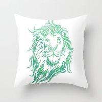 Green Lion Throw Pillow