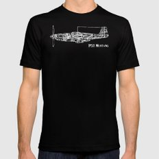North American P51 Mustang (White) Black SMALL Mens Fitted Tee