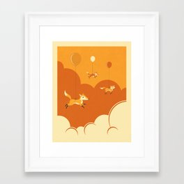 Framed Art Print - FLOCK OF FOXES - Jazzberry Blue