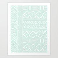 Mudcloth In Mint Art Print