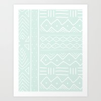 Mudcloth In Mint Art Print
