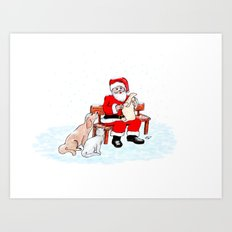Merry Christmas - Santa Claus with Cat and Dog Art Print