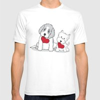 Valentine's Day Dogs Mens Fitted Tee White SMALL