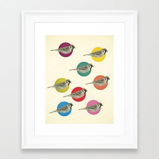 Gathering Sparrows Framed Art Print