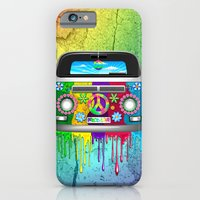 Hippie Bus Van Dripping Rainbow Paint iPhone 6 Slim Case