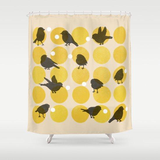 Birdsong Yellow Shower Curtain
