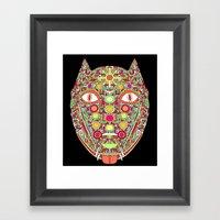 Demonic Dog Wolf Fox Framed Art Print
