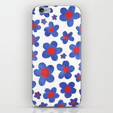 Cobalt Blue & Cherry Red Denim Painted Daisies on White iPhone & iPod Skin