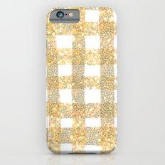 Gingham Sparkle Gold Slim Case iPhone 6s