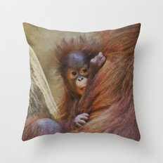 Orangutan Baby Throw Pillow