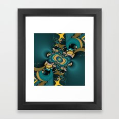 teal and yellow fractal  Framed Art Print