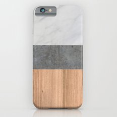 Carrara Marble, Concrete, and Teak Wood Abstract iPhone 6 Slim Case