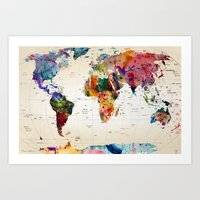 typography Art Prints featuring map by mark ashkenazi