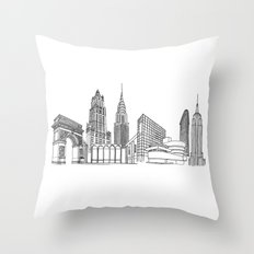 NYC Landmarks by the Downtown Doodler Throw Pillow
