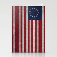 The Betsy Ross flag of the USA - Vintage Grungy version Stationery Cards